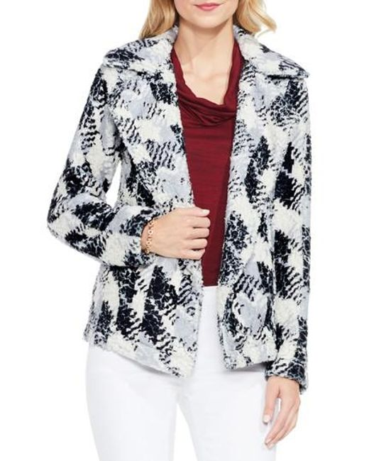Two By Vince Camuto | Black Broken Houndstooth Faux Fur Coat | Lyst