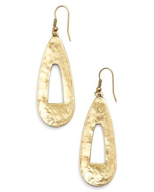 Karine Sultan - Metallic Open Teardrop Earrings - Lyst