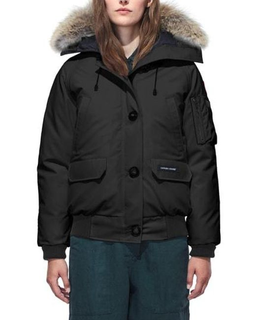 4cf510d46f5a3 ... usa canada goose black chilliwack fur trim bomber jacket lyst dd277  0660e