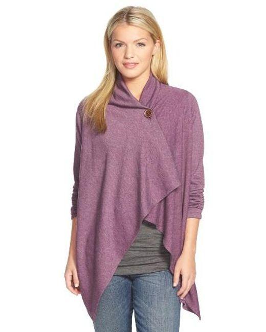 Bobeau   Purple One-button Fleece Wrap Cardigan   Lyst