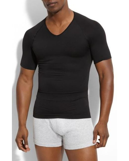 Spanx | Black Spanx 'zoned Performance' V-neck T-shirt for Men | Lyst