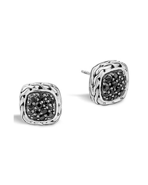 John Hardy | Black 'classic Chain' Small Square Stud Earrings | Lyst