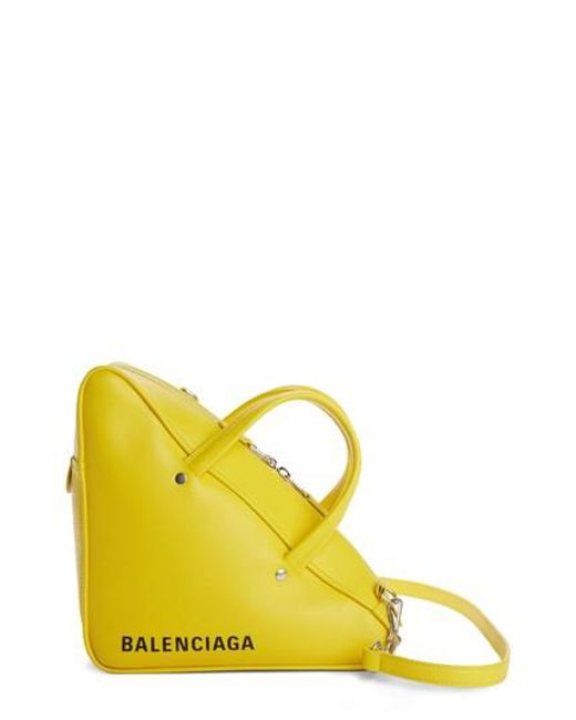 Balenciaga - Yellow Small Triangle Duffel Bag - Lyst