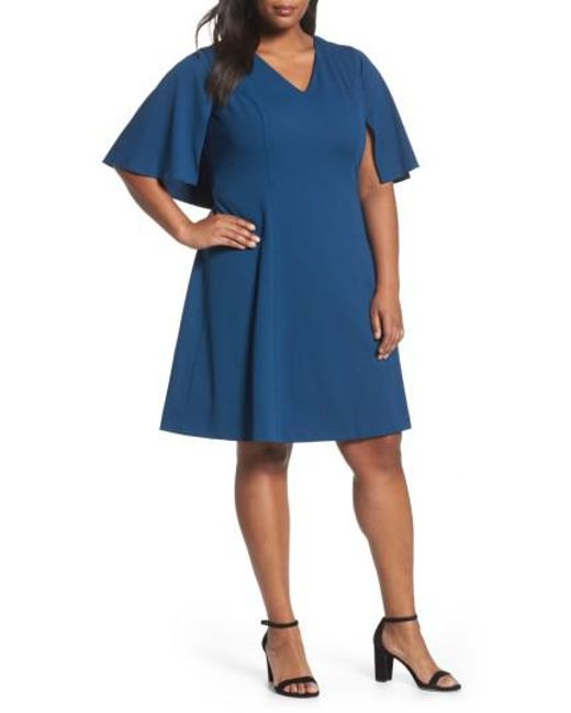 Adrianna Papell | Blue Capelet A-line Dress | Lyst