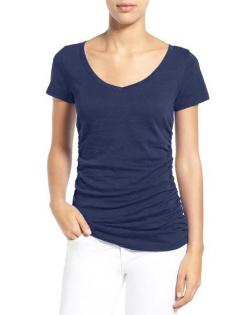 Caslon | Blue Caslon Shirred V-neck Tee | Lyst
