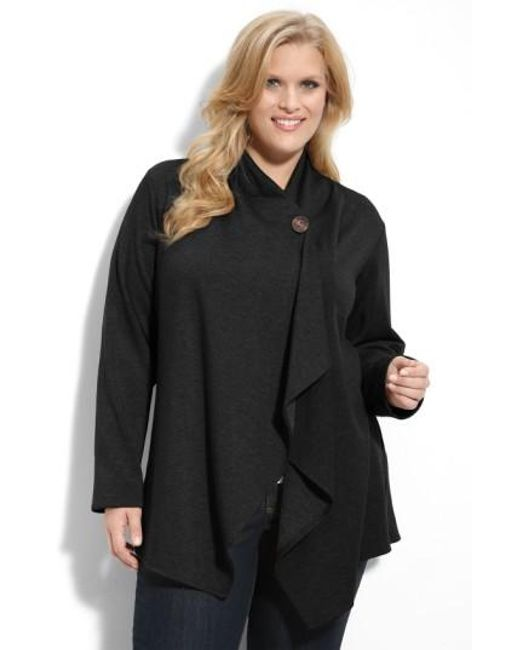 Bobeau | Black One-button Fleece Cardigan | Lyst