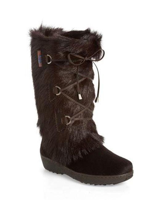 Pajar   Brown Davos Genuine Goat Fur Boot   Lyst