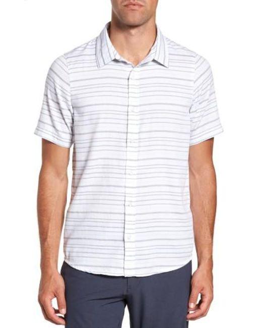 Travis Mathew   White Long Board Stripe Sport Shirt for Men   Lyst
