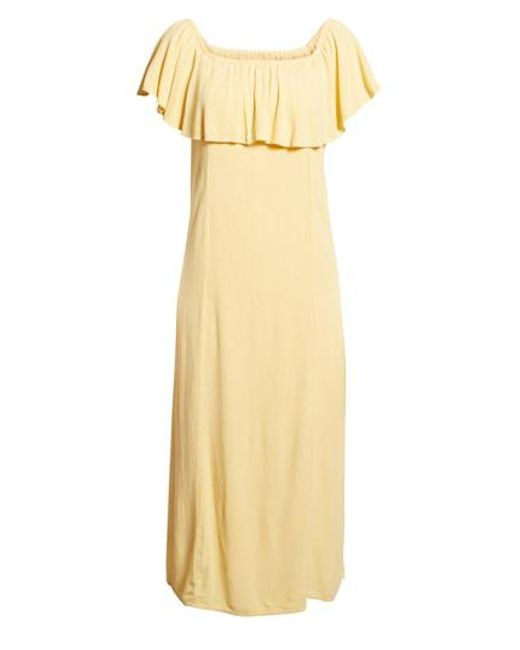 Amuse Society - Yellow Vista Del Valle Off The Shoulder Ruffle Maxi Dress - Lyst