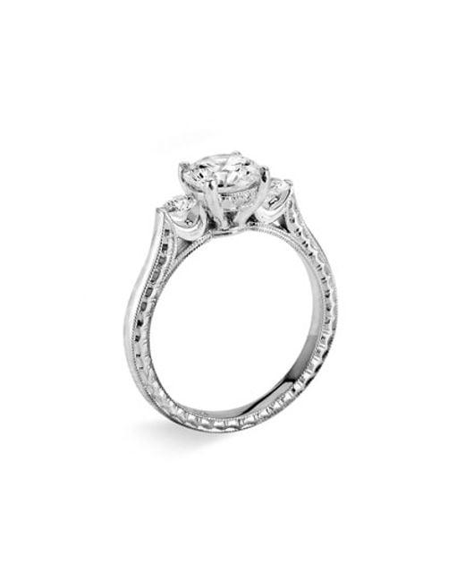Jack Kelége | Metallic 'silhouette' Platinum 3-stone Engagement Ring Setting | Lyst