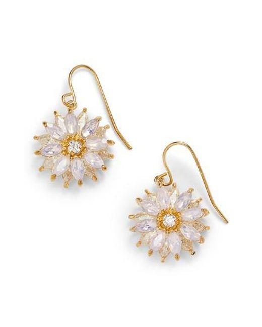 Nina - Metallic Layered Floral Drop Earrings - Lyst
