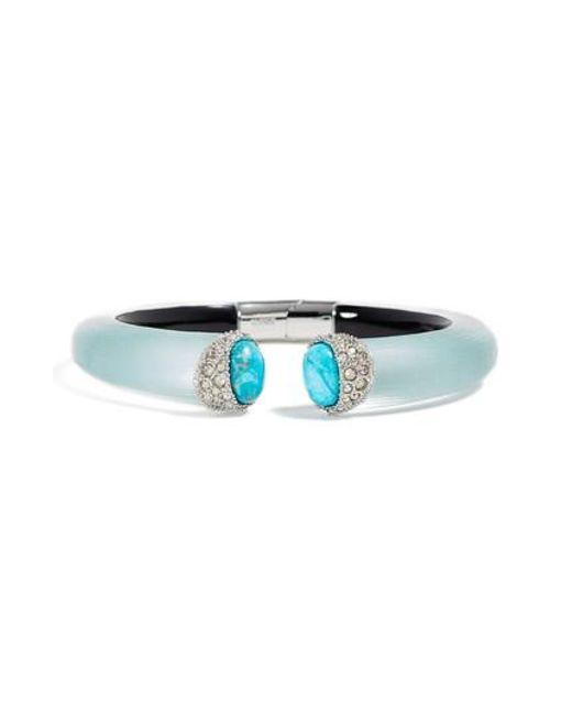 Alexis Bittar | Blue Encrusted Double Stone Lucite Hinge Bracelet | Lyst
