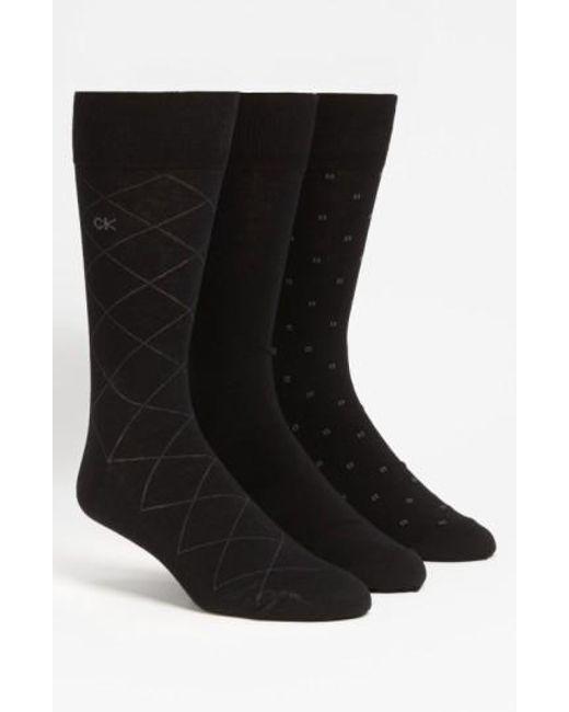 Calvin Klein   3-pack Patterned Socks, Black for Men   Lyst