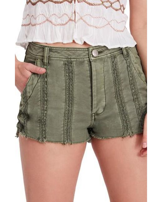 Free People - Green Great Expectations Lace Cutout Shorts - Lyst