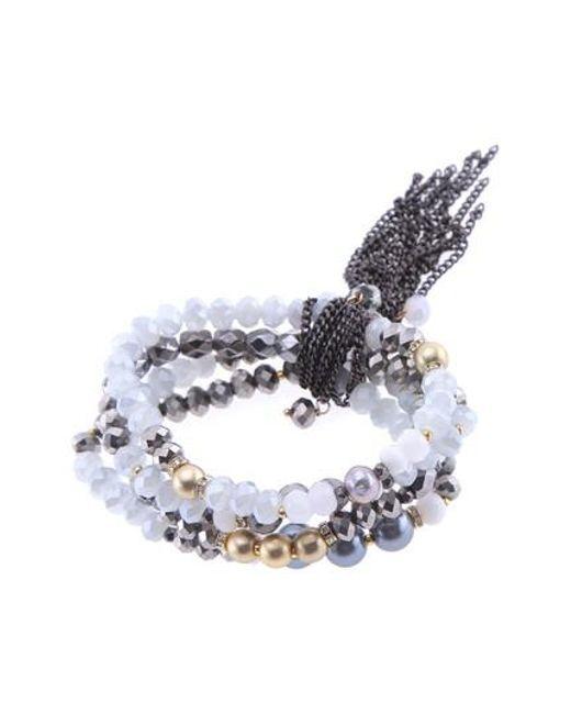 Nakamol White Crystal Freshwater Pearl Stretch Bracelet Lyst