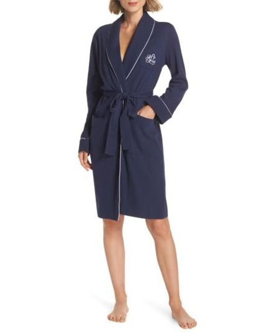 Lauren by Ralph Lauren | Blue Quilted Collar Robe | Lyst