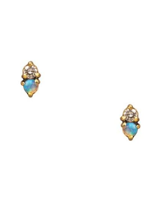 Wwake - Metallic Counting Collection Two Step Opal & Diamond Stud Earrings - Lyst