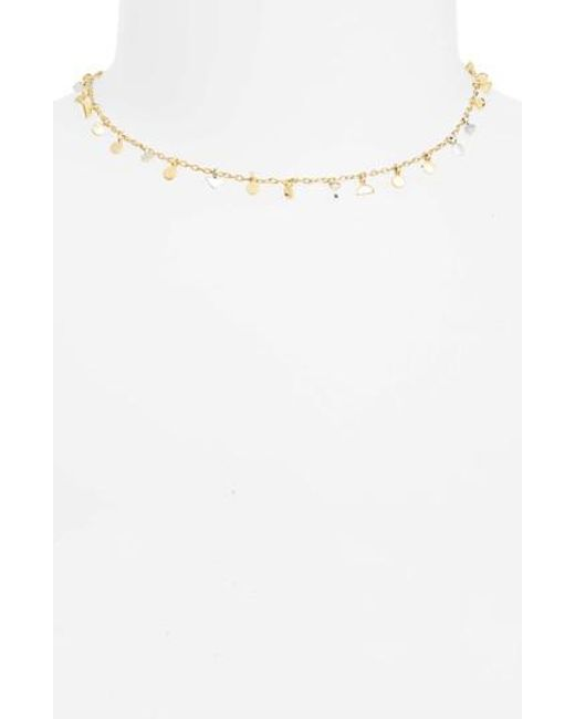 Madewell | White Delicate Geo Charm Choker Necklace | Lyst