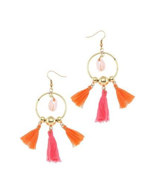 Nakamol - Orange Tiny Tassel Hoop Earrings - Lyst