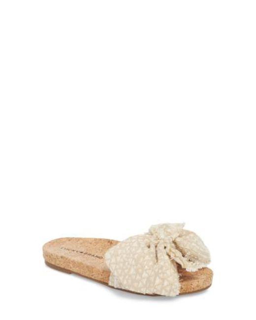Lucky Brand Floella Striped Bow Slide Sandals ZGJ1dfNnin