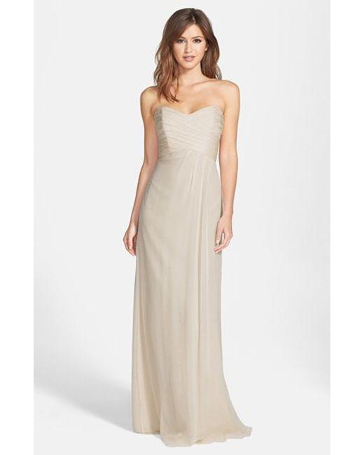 Amsale | Metallic Strapless Crinkle Chiffon Gown | Lyst
