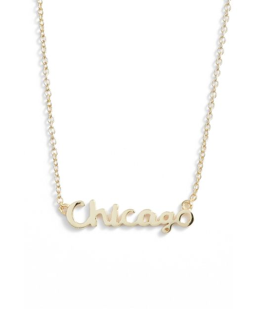 Argento Vivo - Metallic Script Chicago Pendant Necklace - Lyst