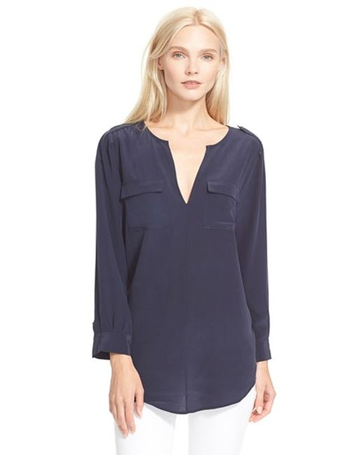 Joie | Blue 'marlo' Silk Blouse | Lyst