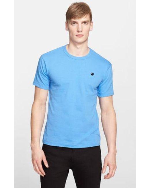 Play Comme des Garçons - Blue 'black Emblem' Cotton Jersey T-shirt for Men - Lyst