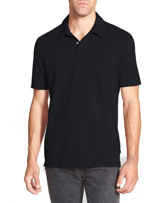 James Perse | Black Slim Fit Sueded Jersey Polo for Men | Lyst