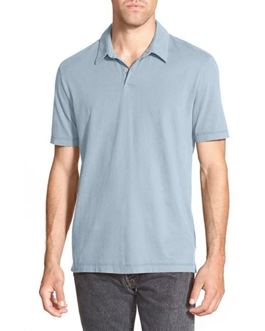 James Perse | Gray Slim Fit Sueded Jersey Polo for Men | Lyst