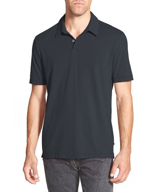 James Perse | Blue Trim Fit Sueded Jersey Polo for Men | Lyst