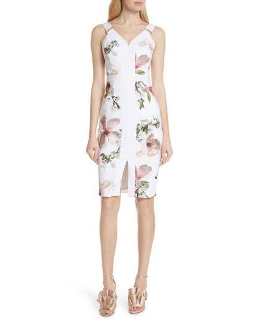 Ted baker harmony floral sheath dress in white lyst ted baker white harmony floral sheath dress lyst mightylinksfo