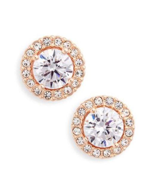 Nadri   Metallic Round Cubic Zirconia Stud Earrings   Lyst