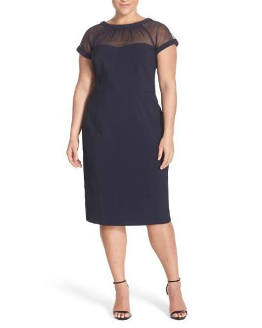 Maggy London | Blue Illusion Yoke Crepe Sheath Dress | Lyst