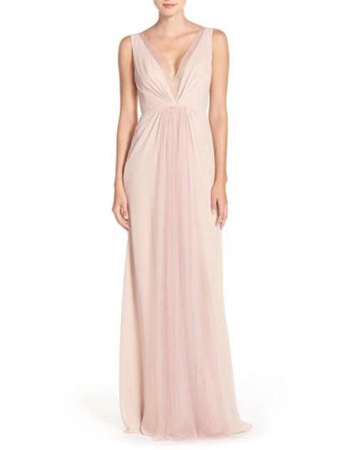 Monique Lhuillier Bridesmaids | Pink Deep V-neck Chiffon & Tulle Gown | Lyst