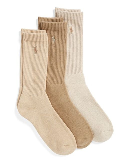 Polo Ralph Lauren | Blue 3-pack Crew Socks, Beige for Men | Lyst