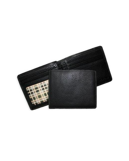 Boconi | Black 'tyler' Tumbled Leather Billfold for Men | Lyst