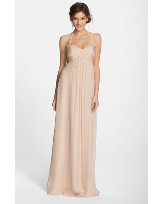 Amsale | Natural Chiffon Halter Gown | Lyst