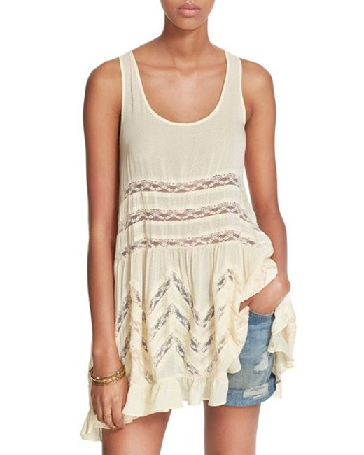 Free People | Natural Swingy Lace Inset Tunic | Lyst
