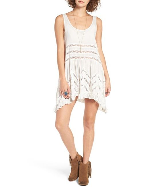 Free People | White Swingy Lace Inset Tunic | Lyst