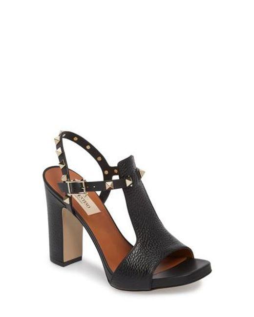 Valentino - Black Rockstud T-strap Sandal - Lyst