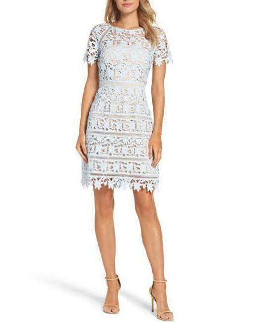 Lyst - Eliza J Crochet Overlay Dress in Blue