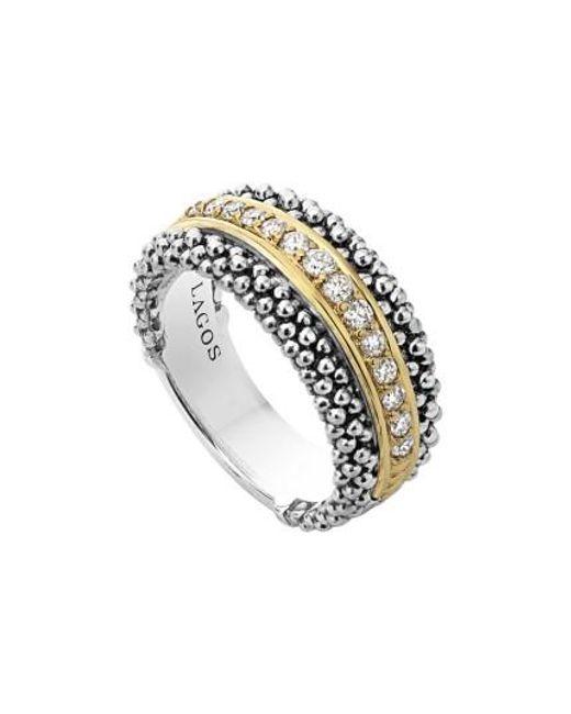 Lagos | Metallic Diamonds & Caviar Ring | Lyst