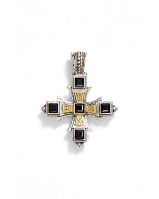 Konstantino   Metallic 'orpheus' Square Semiprecious Stone Cross Pendant   Lyst