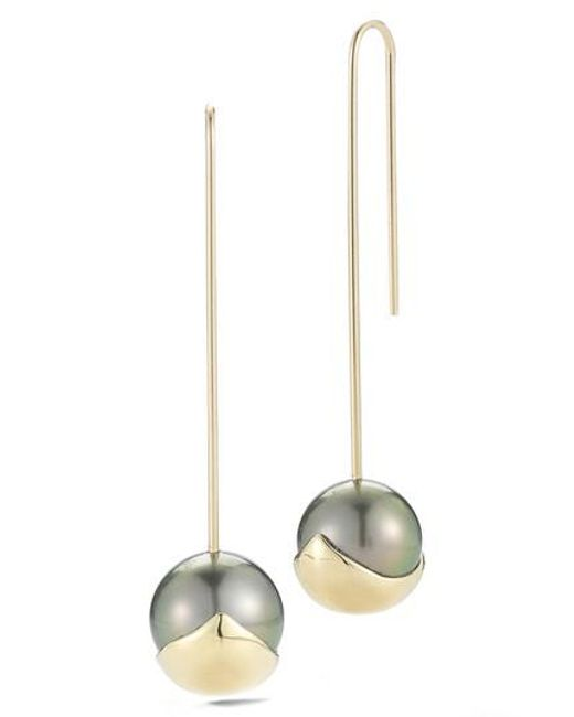 Mizuki | Metallic Sea Of Beauty Pearl Drop Earrings | Lyst