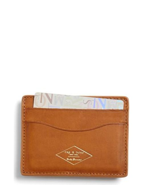 Rag & Bone - Brown Leather Card Case for Men - Lyst