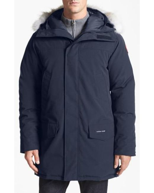 Canada Goose - Blue Langford Slim Fit Down Parka With Genuine Coyote Fur Trim for Men - Lyst