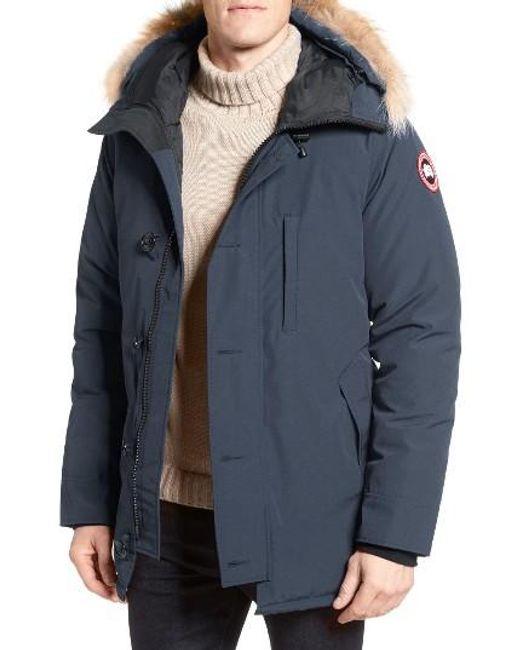 Canada Goose | Blue 'chateau' Slim Fit Genuine Coyote Fur Trim Jacket for Men | Lyst