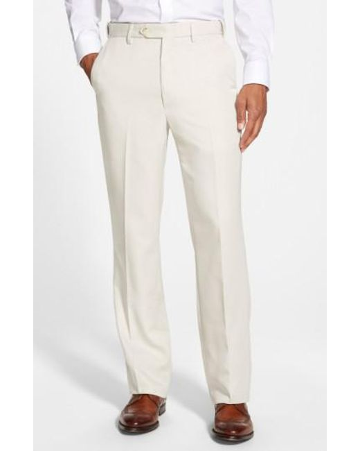 Berle - White Self Sizer Waist Flat Front Trousers for Men - Lyst