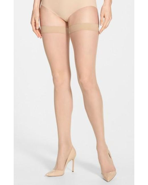Wolford | Natural Individual 10 Stay-up Stockings | Lyst